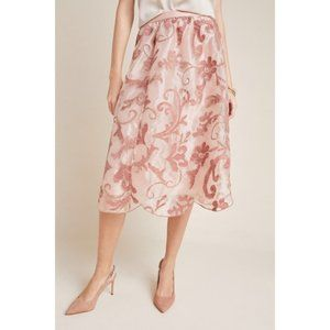 Anthropologie Maeve Shannon Embroidered Midi Skirt